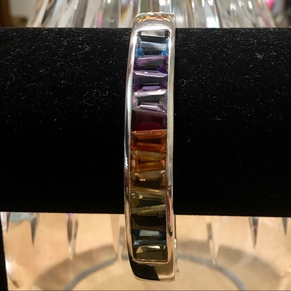 QVC Jewelry - Sterling Silver Tapered Baguette Gemstone Cuff